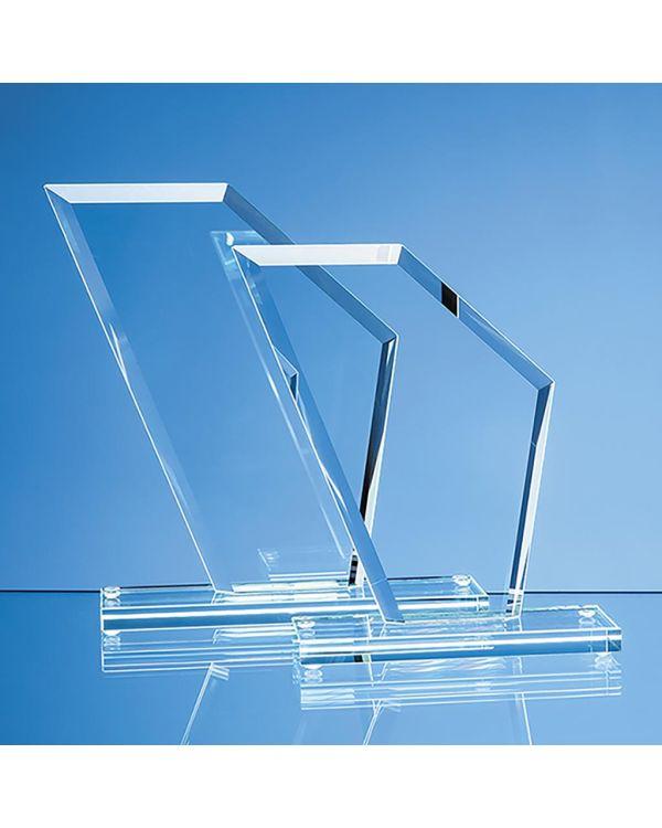 21cm x 18cm x 1cm Jade Glass Bevelled Edge Wing Award