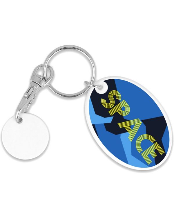 Recycled Old Pound Oval Trolley Mate Keyring (Unprinted Coin)