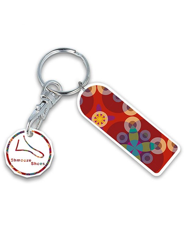 Recycled New Pound Rectangle Trolley Mate Keyring (Printed Coin)