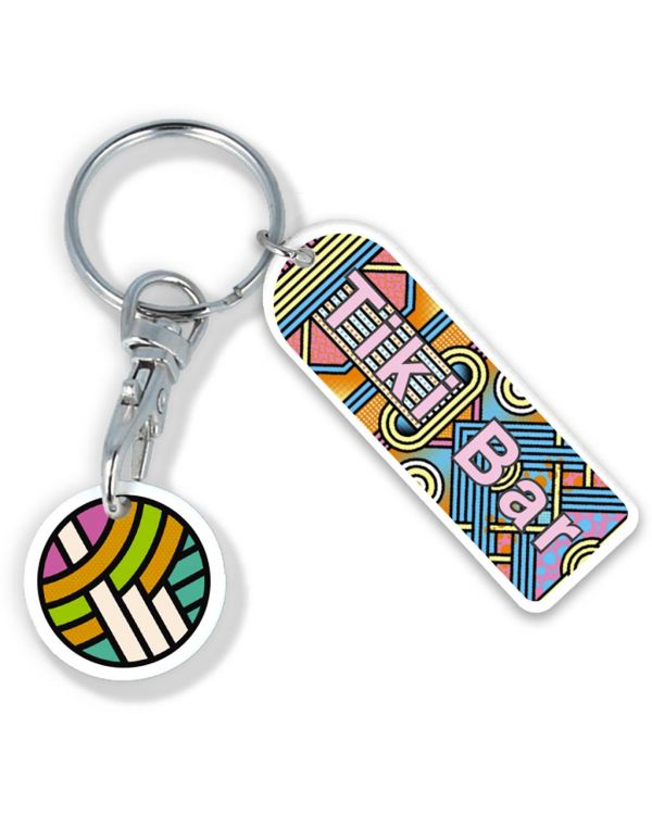 Recycled Old Pound Rectangle Trolley Mate Keyring (Printed Coin)