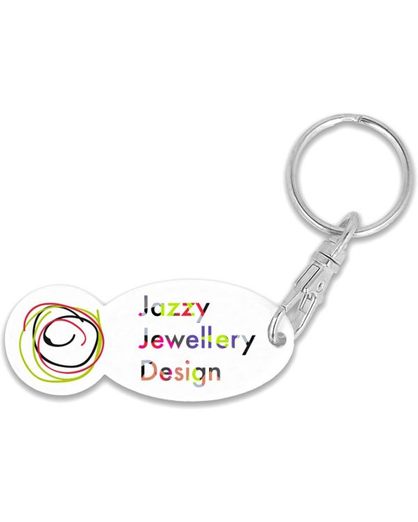 Recycled Old Pound Trolley Stick Oval Keyring