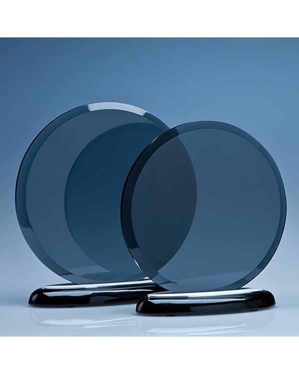 17cm x 10mm Smoked Glass Circle on a Black Piano Finish Base