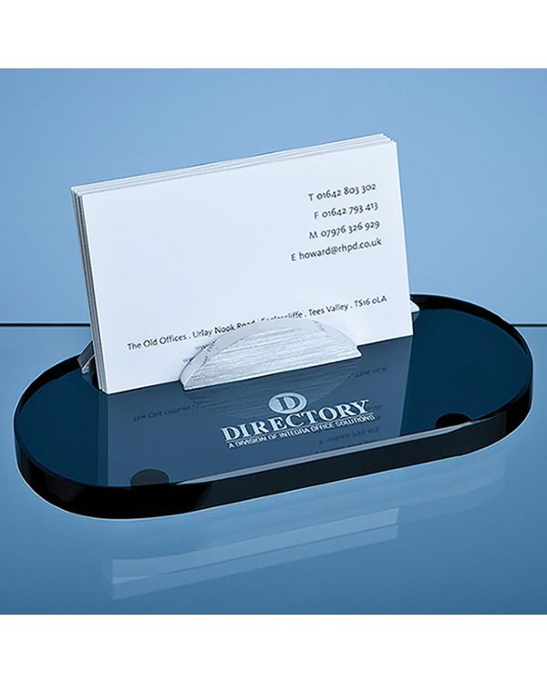 14cm Smoked Glass Business Card Holder