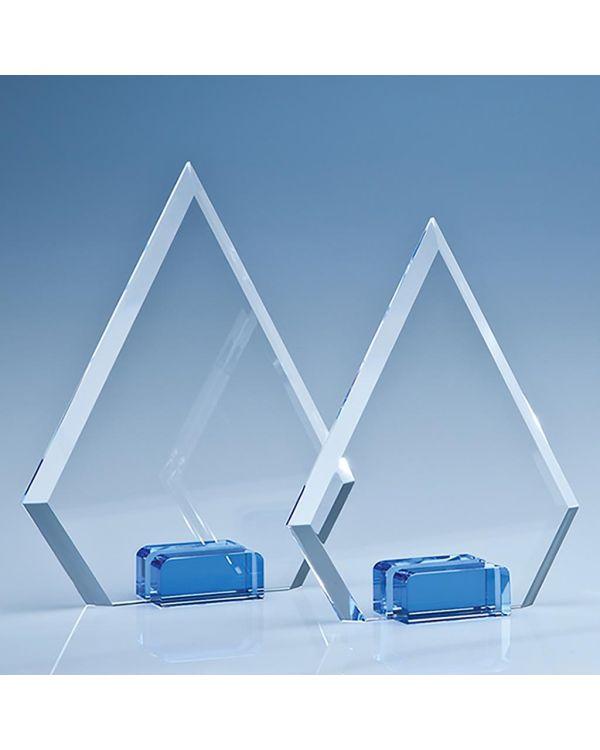 16cm Optical Crystal Diamond with a Cobalt Blue Base