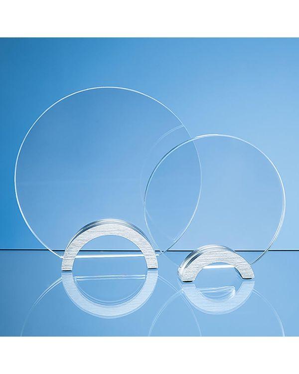 19cm x 10mm Clear Glass Circle mounted on an Aluminium Base