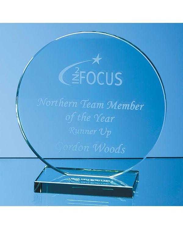 15cm x 12mm Jade Glass Circle Award