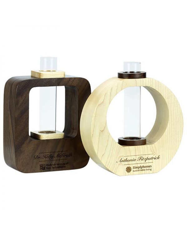 Dual Wood Oak Vase With Full Colour Print