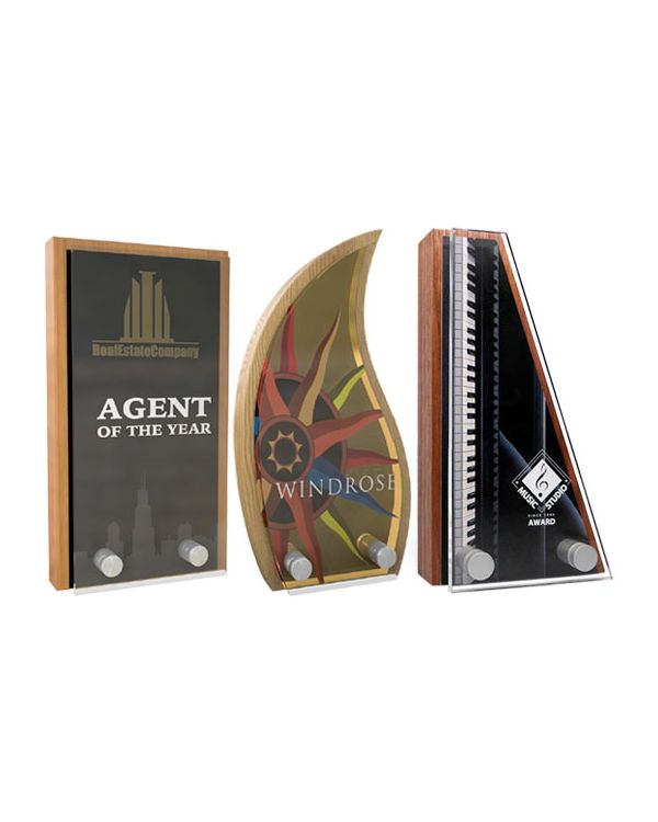 Real wood block awards with metal & acrylic plates