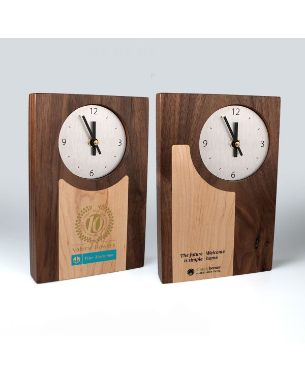 Real wood clocks with wood inlays