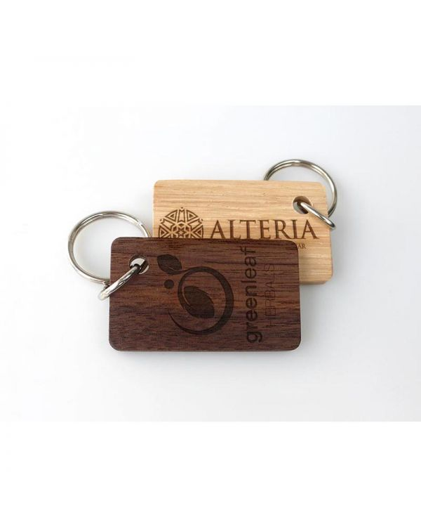 Real Wood Single Sided Engraved Keyrings, Small
