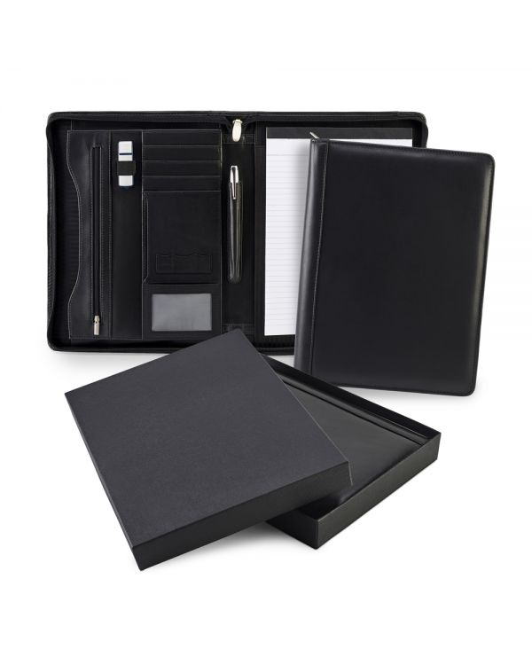 Sandringham Leather Zipped A4 Conference Pad Holder