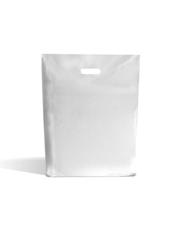 15 x 18 x 3 White Patch Handle Carrier Bag