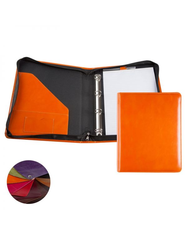 Recycled Leather A4 Zipped Ring Binder